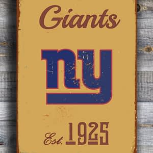 NEW YORK GIANTS Sign Vintage style New York Giants Sign Est. 1925 Composite Aluminum Vintage New York Giants Football Fan Sign Sports Sign