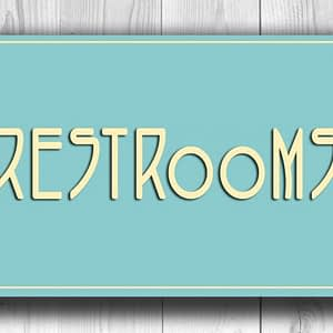 Classic chic Style Restrooms Sign