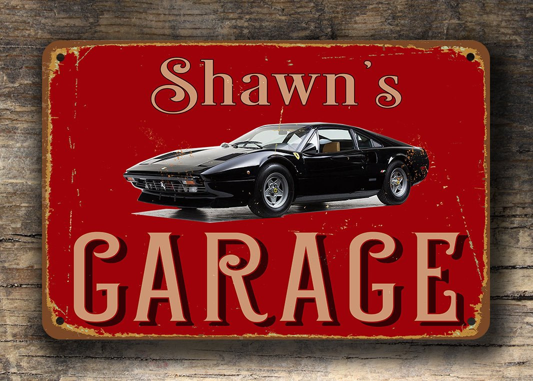 1975 Ferrari 308 GTB - Custom Garage Sign