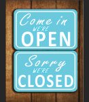 Blue We're Open Sign