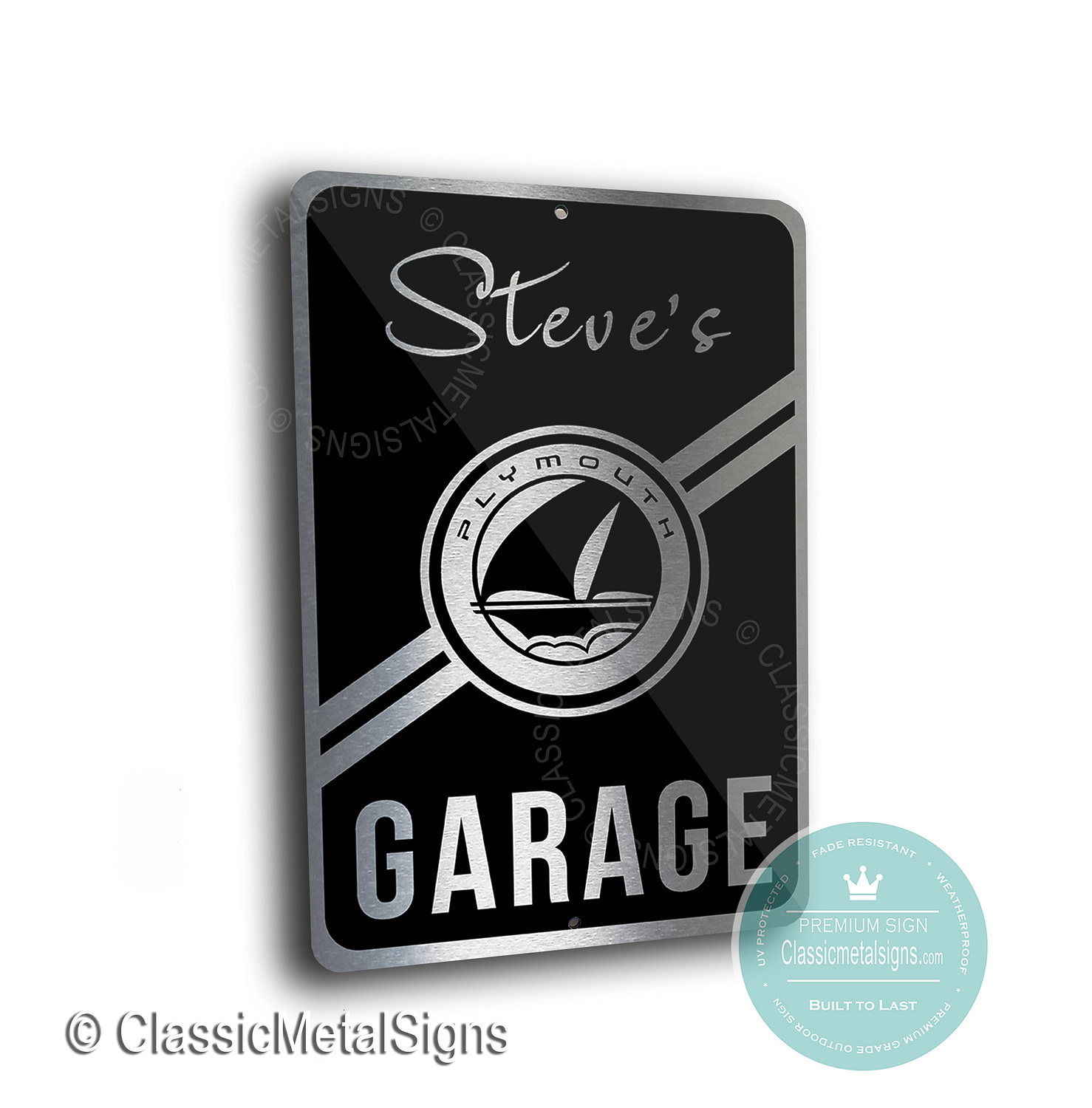 Plymouth Garage Signs