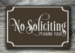 Brown No Soliciting Sign
