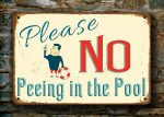 No Peeing in the Pool Signs
