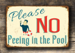 No Peeing Pool Signs