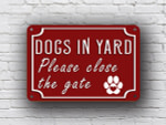 Red Dog in Yard Sign