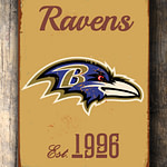 BALTIMORE-RAVENS-Sign-Vintage-style-Baltimore-Ravens-Est.-1996-Composite-Aluminum-Baltimore-Ravens-Sign-in-team-colors-SPORTS-Fan-Sign-1