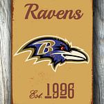 BALTIMORE-RAVENS-Sign-Vintage-style-Baltimore-Ravens-Est.-1996-Composite-Aluminum-Baltimore-Ravens-Sign-in-team-colors-SPORTS-Fan-Sign-3