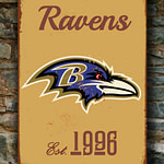 BALTIMORE-RAVENS-Sign-Vintage-style-Baltimore-Ravens-Est.-1996-Composite-Aluminum-Baltimore-Ravens-Sign-in-team-colors-SPORTS-Fan-Sign-4