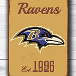 BALTIMORE-RAVENS-Sign-Vintage-style-Baltimore-Ravens-Est.-1996-Composite-Aluminum-Baltimore-Ravens-Sign-in-team-colors-SPORTS-Fan-Sign