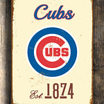 CHICAGO CUBS Sign Vintage style Chicago Cubs Est. 1874 Composite Aluminum Chicago Cubs Sign in team colors Sports Fan Sign BASEBALL Cubs