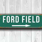 Vintage style Ford Field Stadium Sign