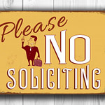 Vintage style No Soliciting signs