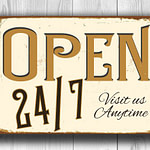 Vintage style Open 24/7 Sign
