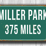 Personalized Miller Park Distance Sign
