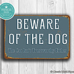 Vintage Style Beware of Dog Sign