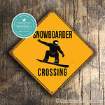 Classic Metal signs – Snowboarder Crossing Sign 2