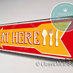 Eat Here Directional Sign