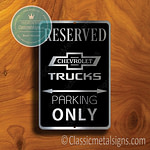 Chevrolet Trucks Parking Only Signs