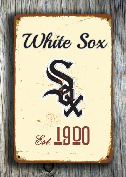 Chicago WHITE SOX Sign Vintage style Chicago White Sox Est. 1900 Composite Aluminum Chicago White Sox in team colors BASEBALL Fan Sign