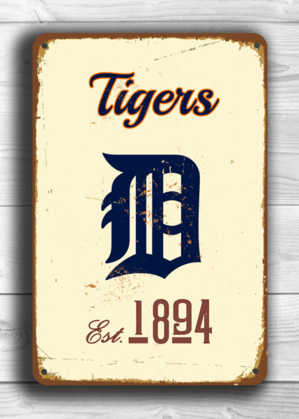 DETROIT TIGERS Sign Vintage style Detroit Tigers Est. 1894 Composite Aluminum Detroit Tigers in team colors Tigers Sign Sports Fan Sign