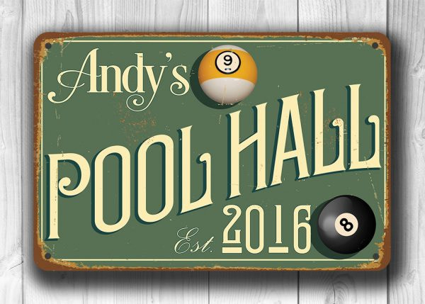 CUSTOM POOL HALL Sign