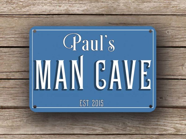 Blue Man Cave Sign