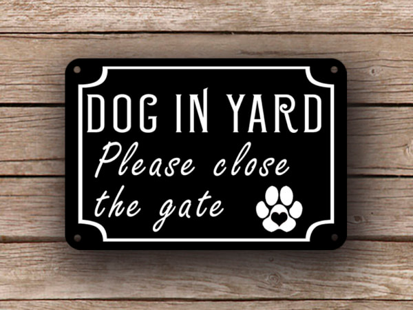 Black Dog In Yard Sign