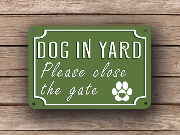 Green Dog In Yard Sign