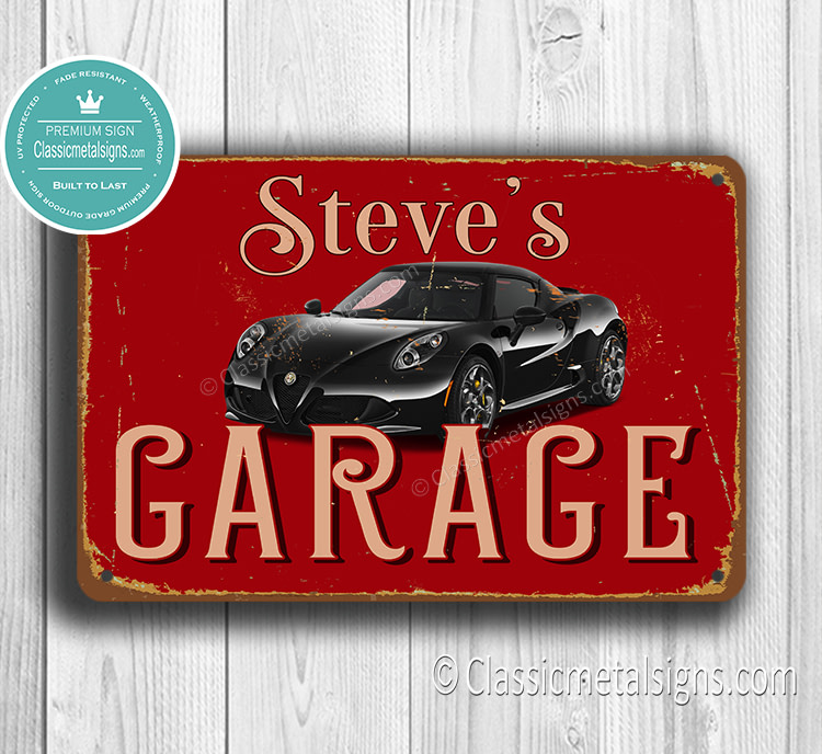 Personalized Alfa Romeo Garage Sign