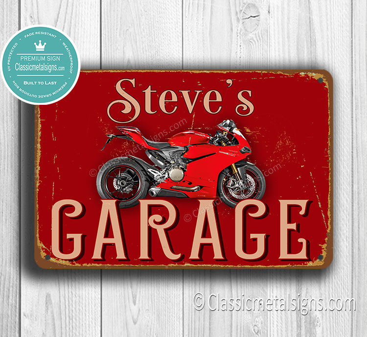 Personalized Ducati Garage Sign