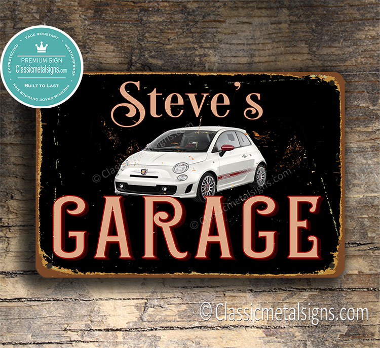 Pwesonalized Fiat 500 Garage Sign
