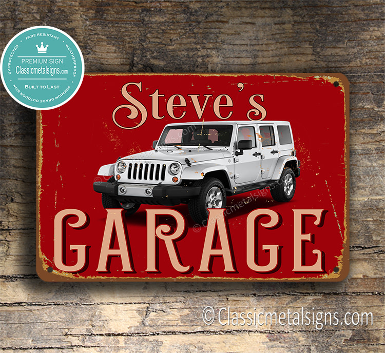 Personalized Jeep Wrangler Garage Sign