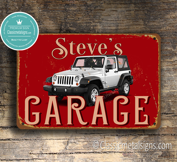 Personalized Jeep Wrangler Sport Garage Sign