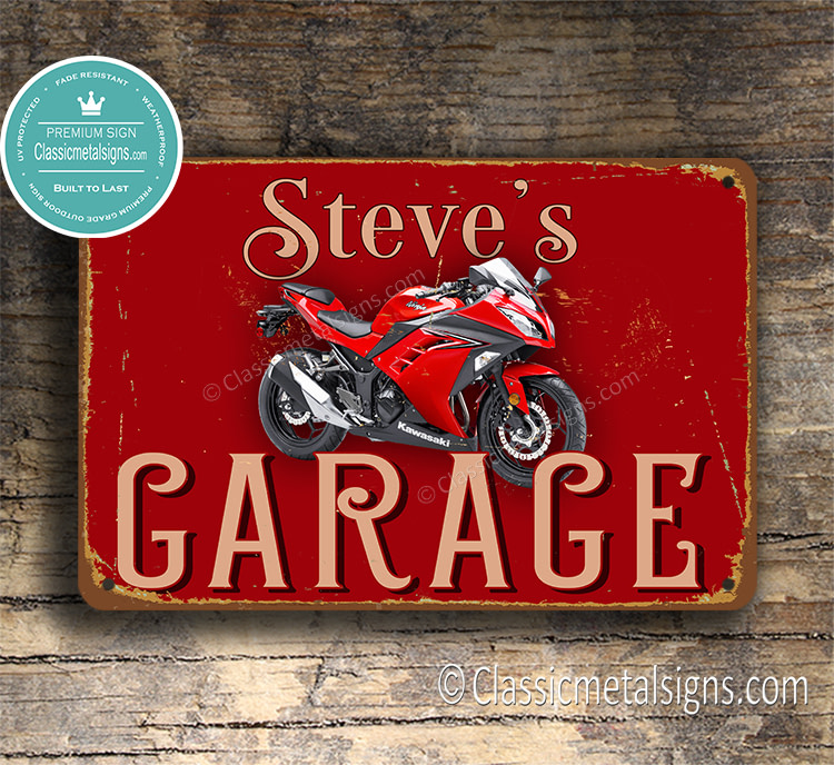 Personalized Kawasaki Garage Sign