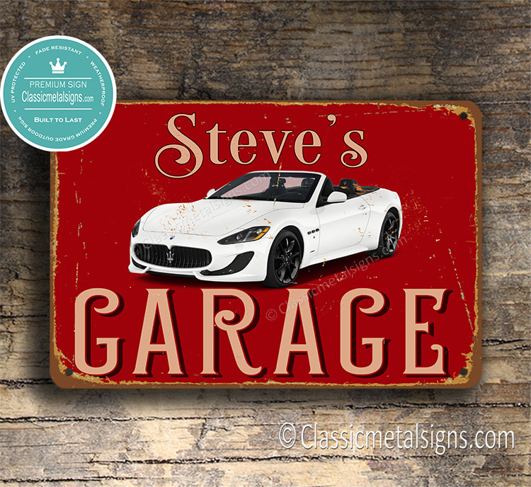 Personalized Maserati Garage Sign