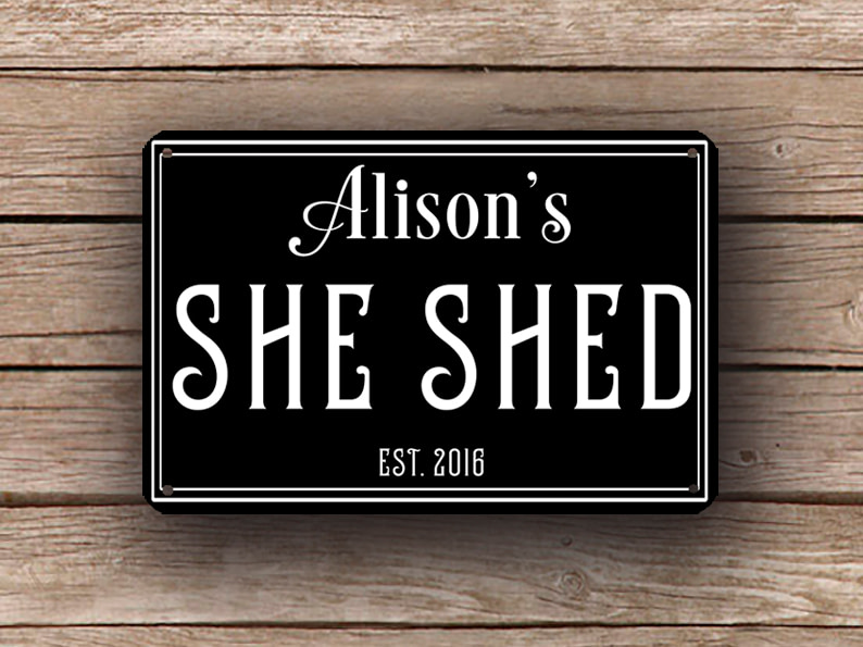 Black She Shed Sign