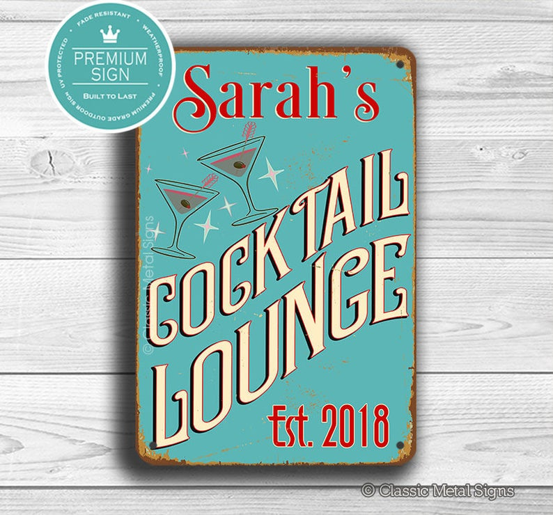 personalized cocktail lounge sign